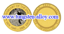 gold plate tungsten alloy coin